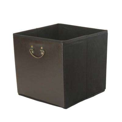 12.8 in. Faux Leather Chocolate Collapsible Storage Cube