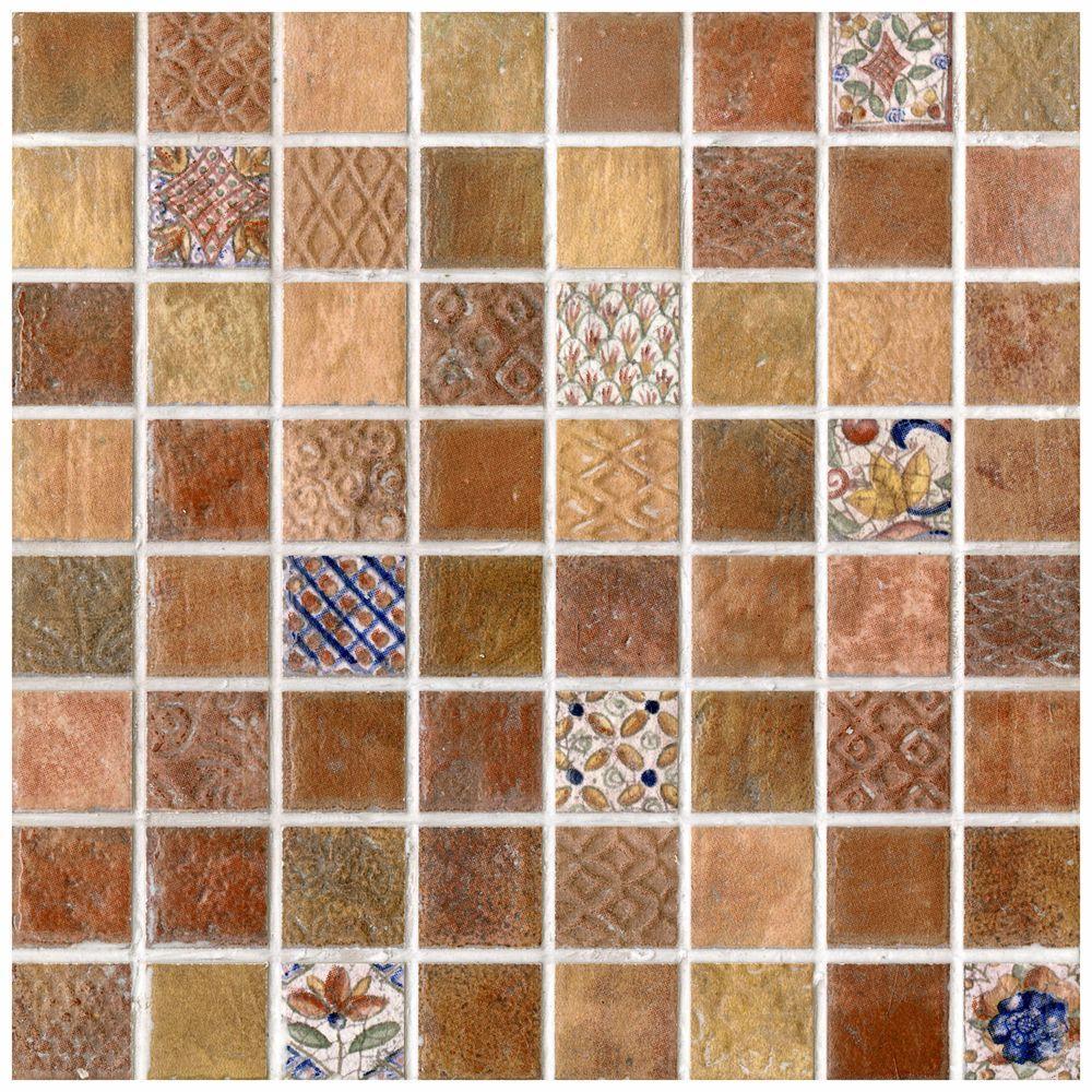 Merola Tile Mosaico Valise 2 Decor 7-13/16 in. x 7-13/16 in. Ceramic Wall Tile