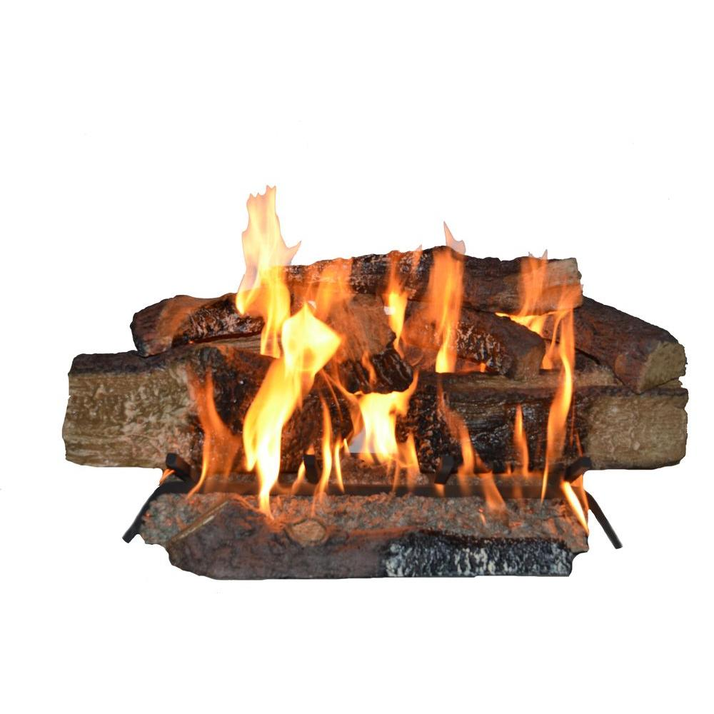 Emberglow - 24 in. Country Split Oak Finish Vented Gas Log Set in Natural Gas - Hand-painted refractory cement logs. Made in the U.S.A. with tiered grate for better log stacking. Match light operation. Embers glow twice as bright.