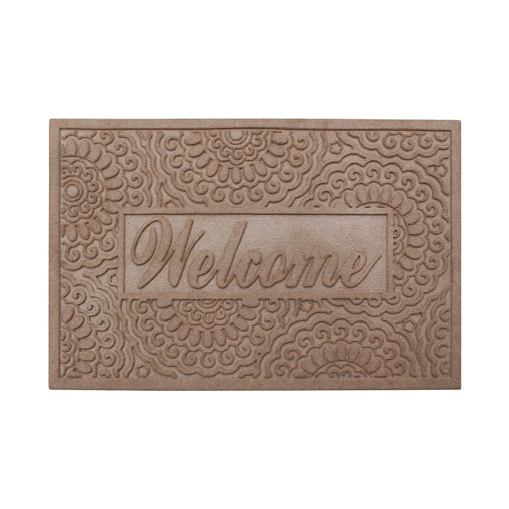 A1 Home Collections Welcome Eco Poly 24 in. x 36 in. Beige Entrance Mat with Anti Slip Fabric