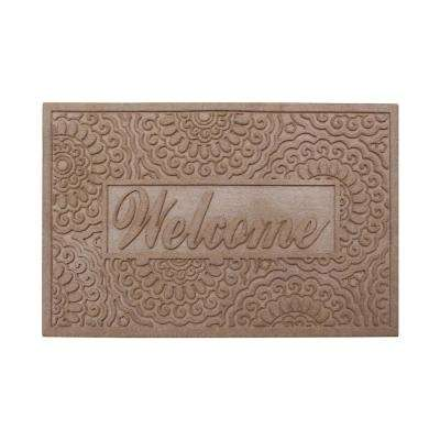 Welcome Eco Poly 24 in. x 36 in. Beige Entrance Mat with Anti Slip Fabric