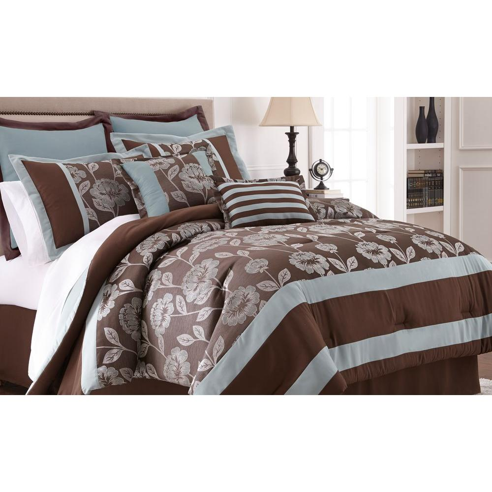 Pacific Coast Textiles Adara Chocolate 8-Piece Floral Jacquard King Comforter Set