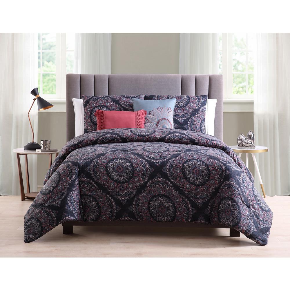 Eva 5-Piece Blue Full/Queen Comforter Set