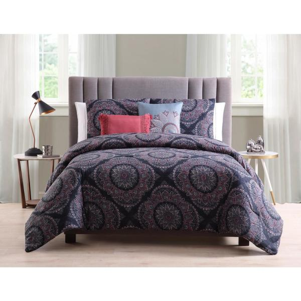 Morgan Home Eva 5-Piece Blue Reversible Medallion King Comforter Set M606342