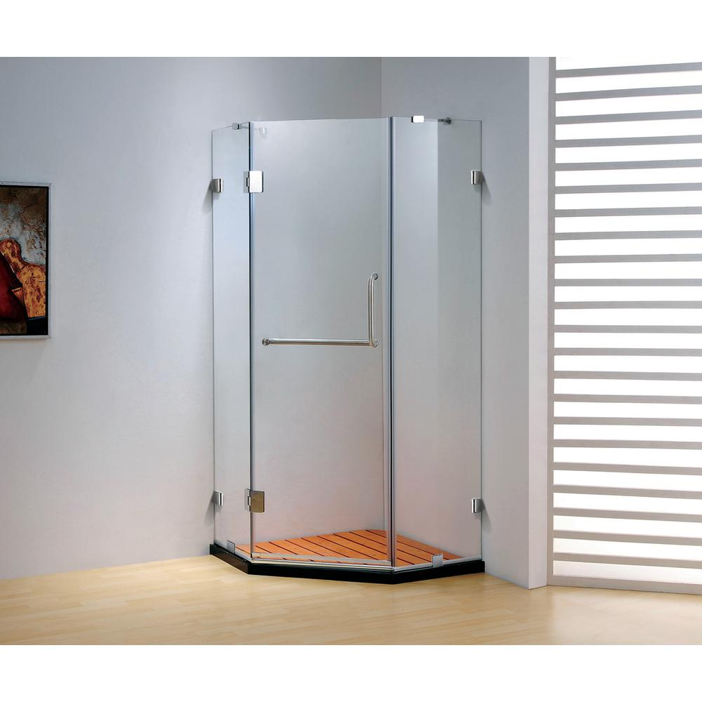 37.4 in. x 79 in. Frameless Neo-Angle Hinged Shower Door in