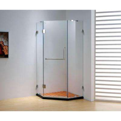 37.4 in. x 79 in. Frameless Neo-Angle Hinged Shower Door in Chrome with Handle