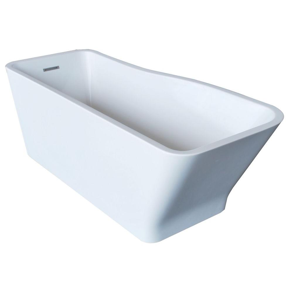 Salva 5.7 ft. Acrylic Reversible Drain Freestanding Bathtub in Glossy White