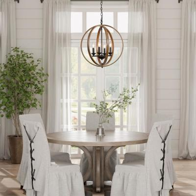 Lora Collection 20 in. 4-Light Black Modern Farmhouse Artisan Iron Globe Chandelier with Distressed Pine Wood Accents