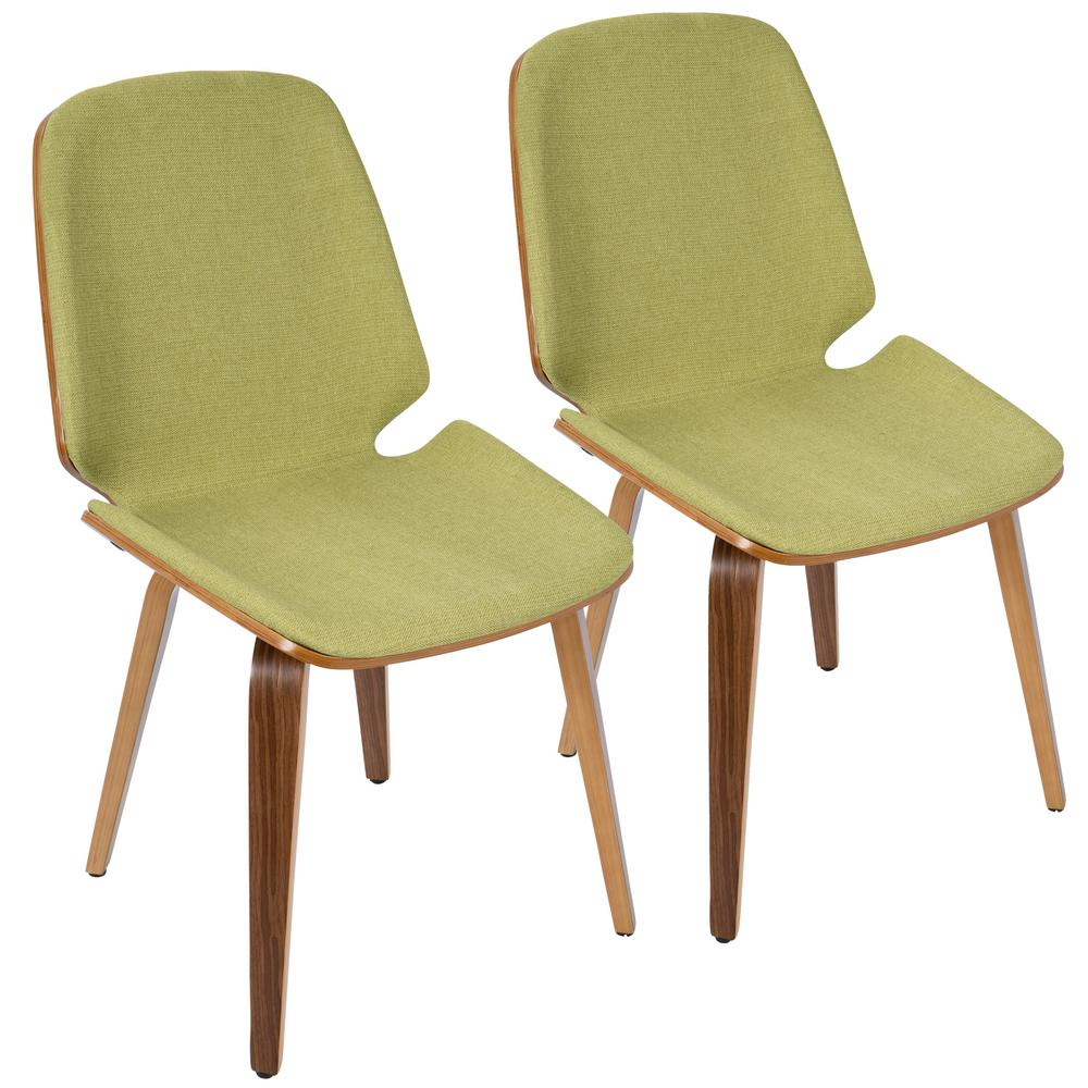 Lumisource Serena Walnut And Green Accent Chair Set Of 2