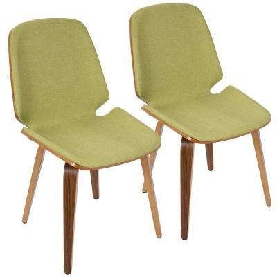 Serena Walnut and Green Accent Chair (Set of 2)