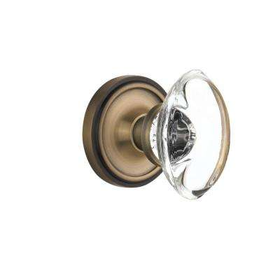 Classic Rosette Double Dummy Oval Clear Crystal Glass Door Knob In Antique  Brass
