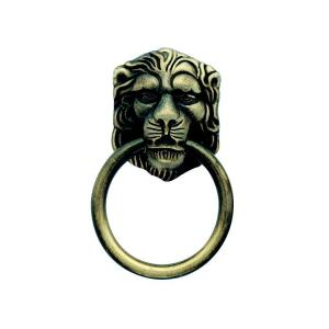 1-1/2 in. Antique Brass Lion Head Ring Pull