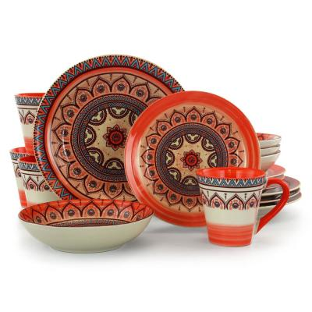 Zen 16-Piece Casual Orange Stoneware Dinnerware Set (Service for 4)