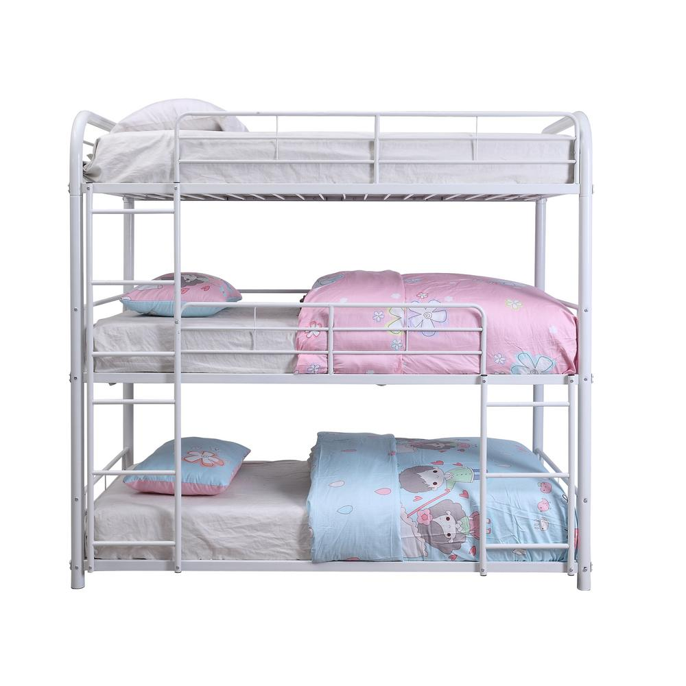Acme Furniture Cairo White Triple Twin Bunk Bed 38110 The Home Depot
