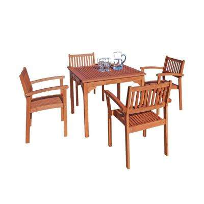 Malibu 5-Piece Wood Square Outdoor Dining Set