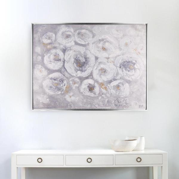37X49 White Roses, Framed acrylic printed canvas wall art N3069