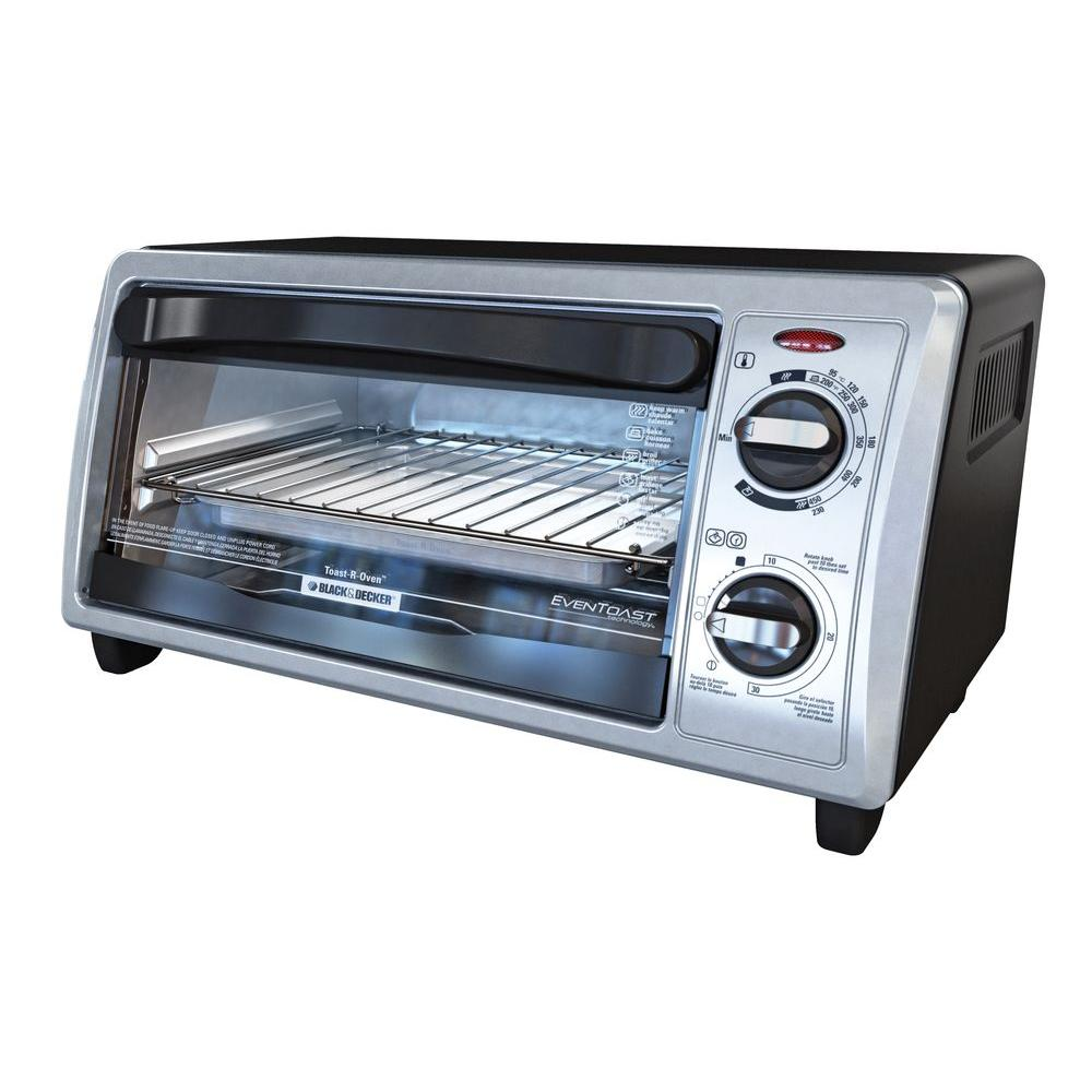 Black Decker 4 Slice Stainless Steel Toaster Oven To1332sbd The Home Depot