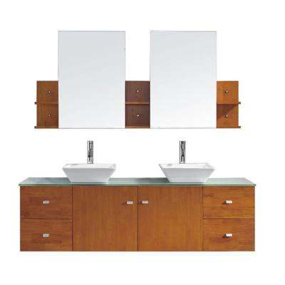 Clarissa 72 in. W Bath Vanity in Honey Oak with Glass Vanity Top in Aqua with Square Basin and Mirror and Faucet