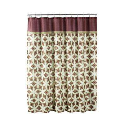 Faux Linen Textured 70 in. W x 72 in. L Shower Curtain with Metal Roller Rings in Harajuku Barn