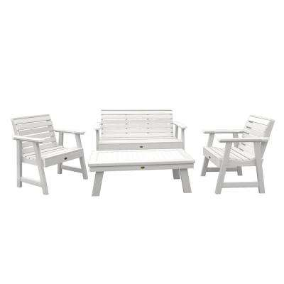 Weatherly White 4-Piece Recycled Plastic Outdoor Conversation Set