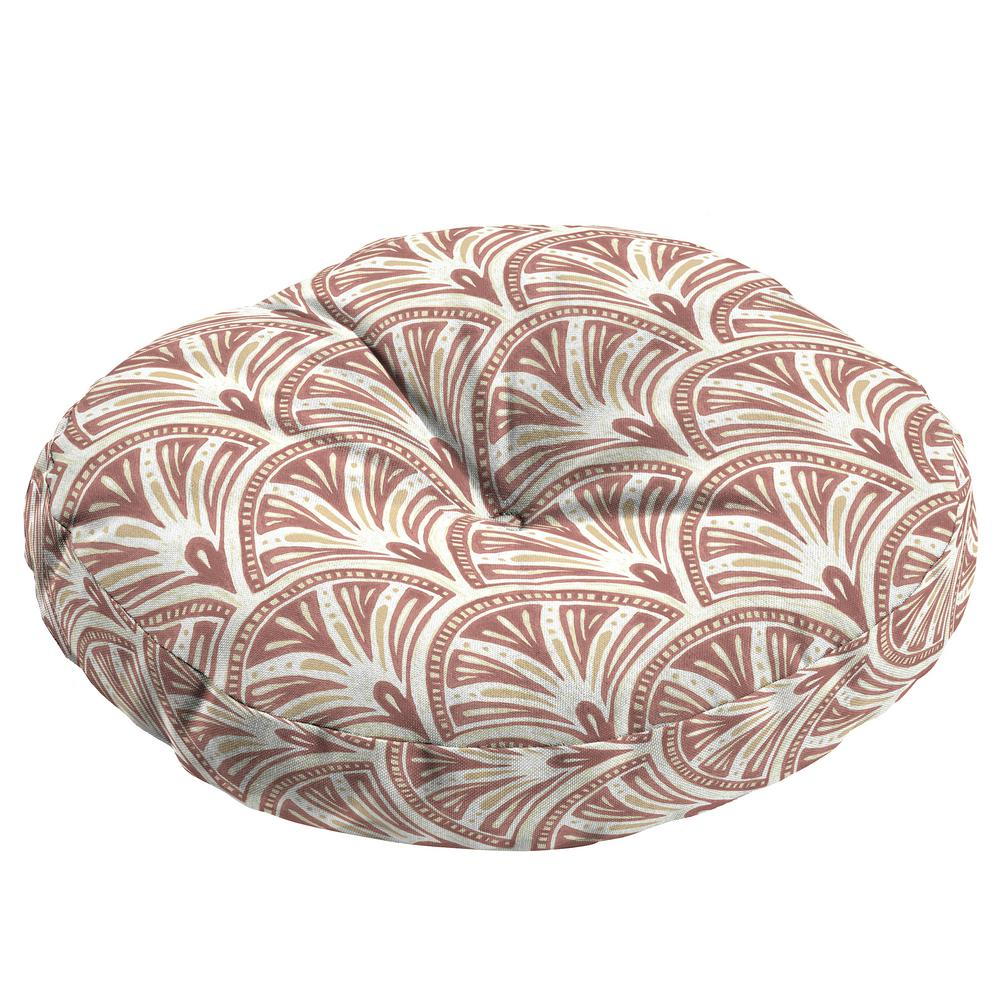 Arden Selections Artisans 15 in. x 15 in. Gatsby Deco Geo Round Outdoor Seat Cushion