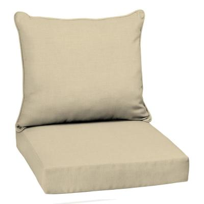 22 in. x 19 in. Taupe Leala Texture 2-Piece Deep Seating Outdoor Lounge Chair Cushion
