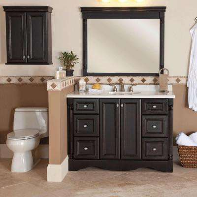 Valencia 22 in. W x 28 in. H x 9 in. D Over the Toilet Bathroom Storage Wall Cabinet in Antique Black