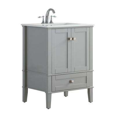 24 in. W x 21.5 in. D x 34.7 in. H Vanity in Grey with Engineered Quartz Marble Vanity Top in White with White Basin