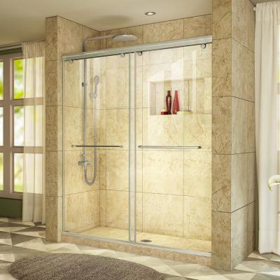 Charisma 56 to 60 in. W x 76 in. Semi-Frameless Sliding Shower Door in Brushed Nickel
