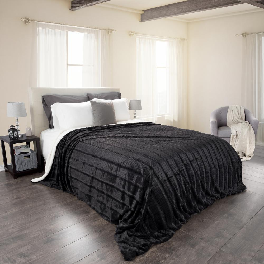 Black Polyester Fleece/Sherpa Twin Blanket