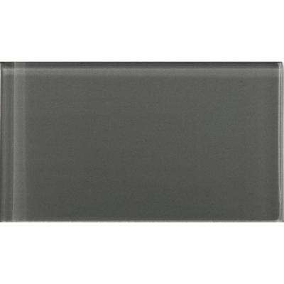 Lucente Pewter 3.15 in. x 6.46 in. Glass Wall Tile