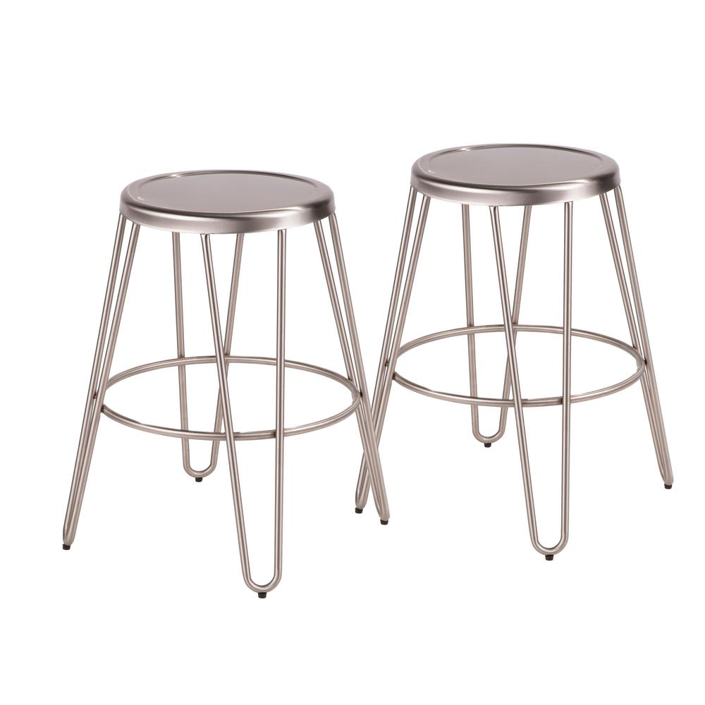 lumisource avery 24 in brushed stainless steel counter stool set of 2 b24 avrmtl ss2 the. Black Bedroom Furniture Sets. Home Design Ideas
