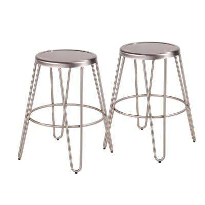 Avery 24 in. Brushed Stainless Steel Counter Stool (Set of 2)