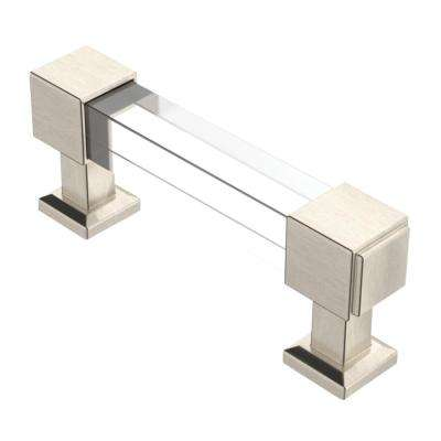 Classic Square 3 in. (76mm) Classic Satin Nickel and Clear Glass Bar Drawer Pull