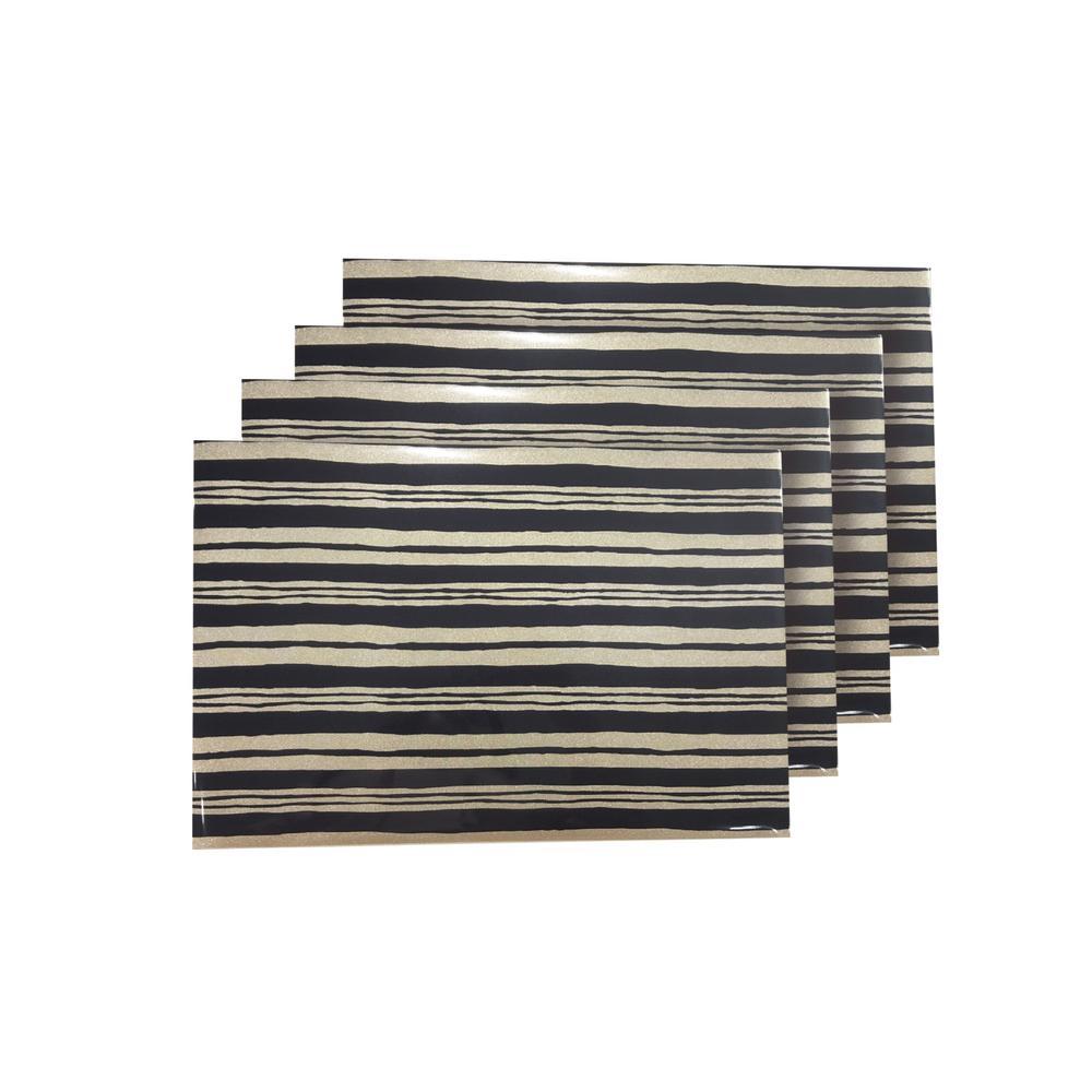 Jagged Black Reversible Metallic Printed Placemats (Set of 4)