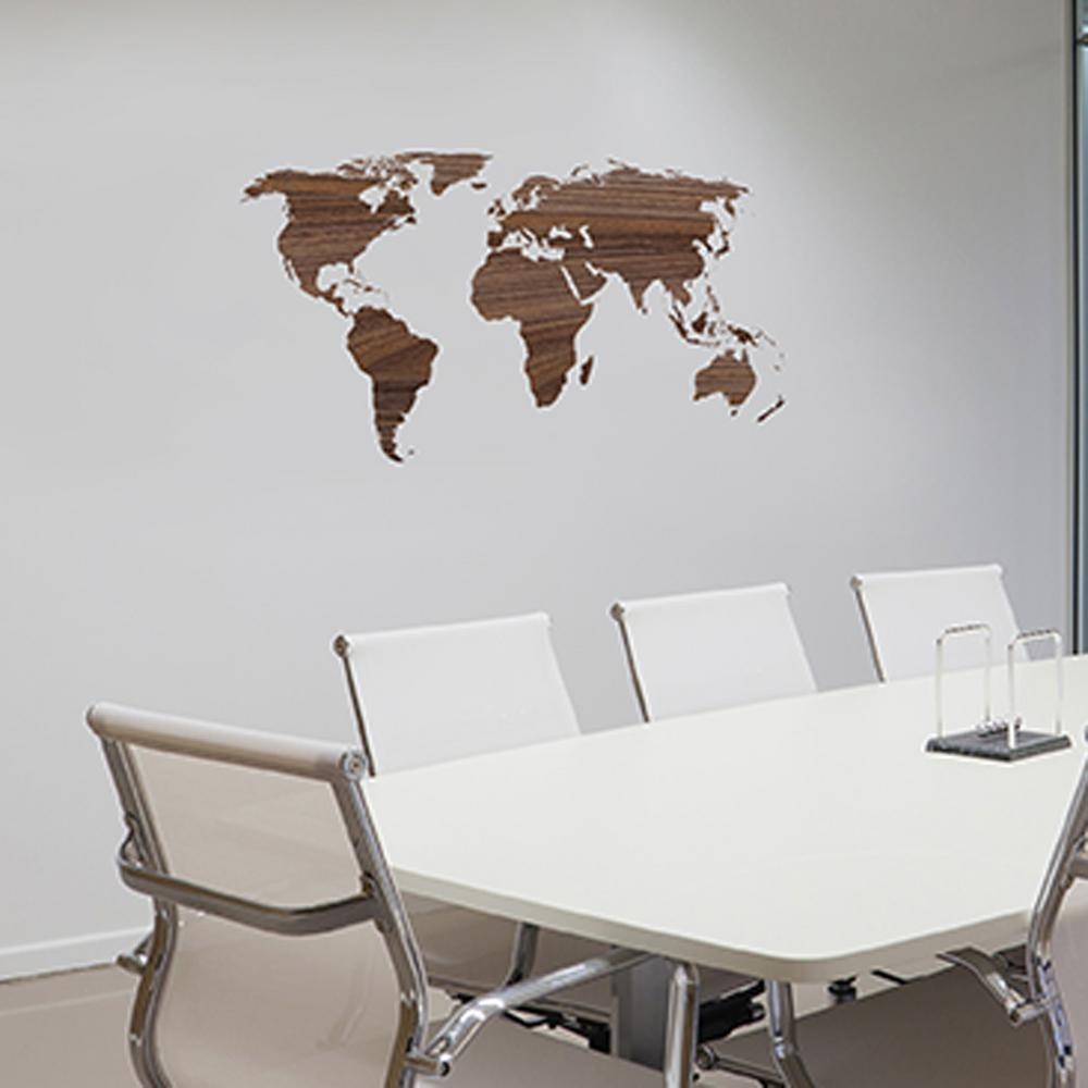 43 In X 21 In Brown Wooden Worldmap Wall Transfer Decal 16200