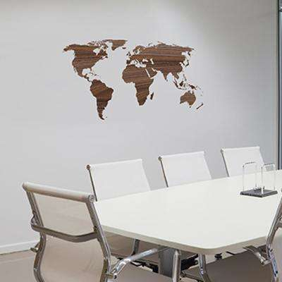 43 in. x 21 in. Brown Wooden Worldmap Wall Transfer Decal