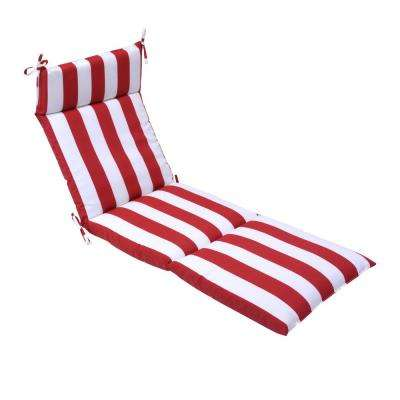 21.5 in. x 72 in. Red Cabana Outdoor Chaise Lounge Cushion