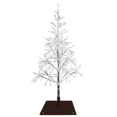 53 in. Festive Silver Christmas Tree with Warm White LED Lights