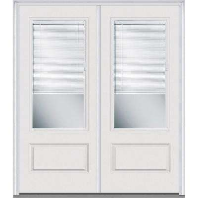 White Blinds Between The Glass Painted Front Doors Exterior
