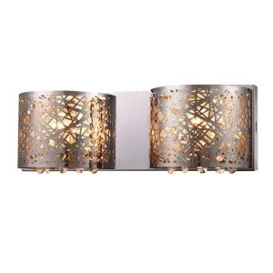 Aubrey 2-Light Chrome Indoor Crystal Wall Lamp by