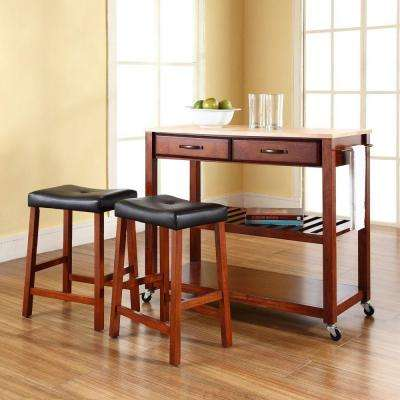 Cherry Kitchen Cart With Natural Wood Top