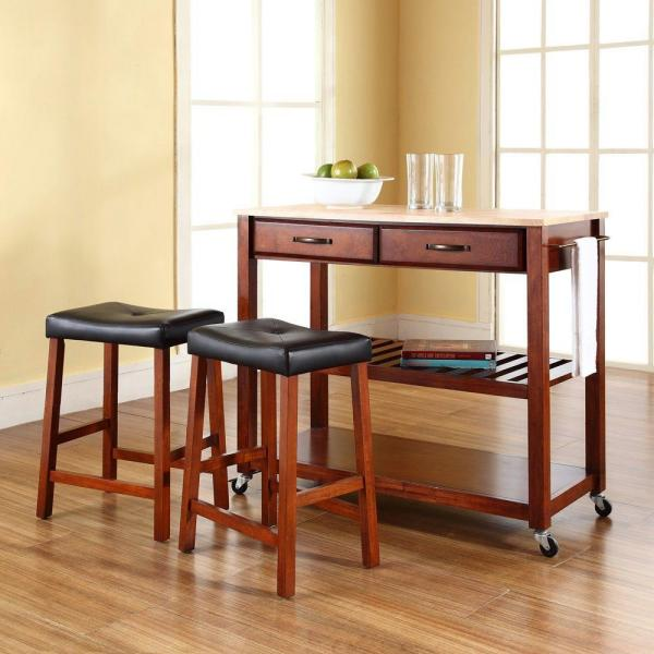 Crosley Cherry Kitchen Cart With Natural Wood Top KF300514CH