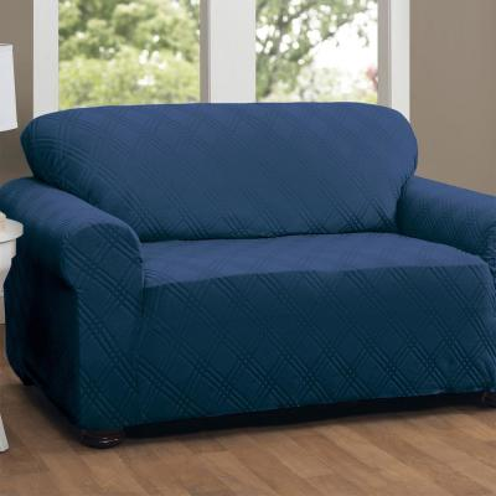 Stretch Double Diamond Navy Sofa Slipcover