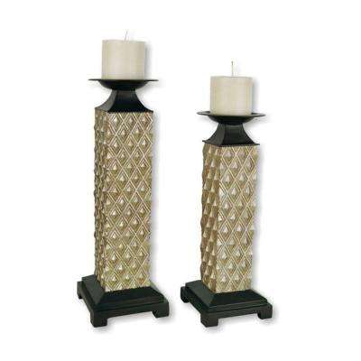 17 in. Set of 2 Candleholders Gold