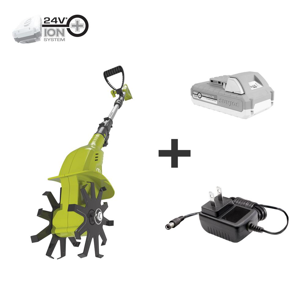 Sun Joe 4.25 in. 24-Volt Cordless Electric Garden Tiller/Cultivator Kit with 2.0 Ah Battery + Charger