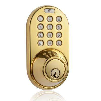 Polished Brass Single-Cylinder Electronic Deadbolt with Keyless Back-Lit Keypad Entry