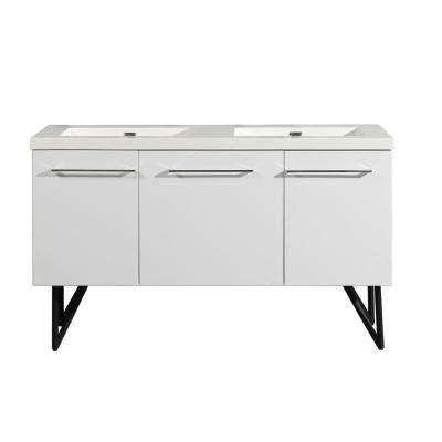 Annecy 60 in. Double, 2-Door, 1 Drawer Bathroom Vanity in White with White Basin