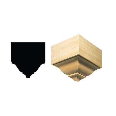 1898O/S 3-1/8 in. x 5-25/32 in. x 5-7/8 in. White Hardwood Medium Outside Crown Connector Block Moulding