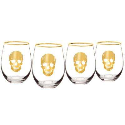 Gold Skull Stemless Wine Glasses (Set of 4)